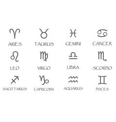 zodiac signs icons set simple vector image