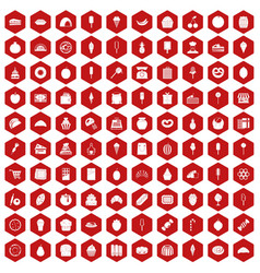 100 confectionery icons hexagon red vector