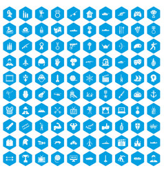 100 hero icons set blue vector