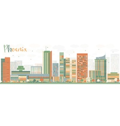 Abstract phoenix skyline with color buildings vector