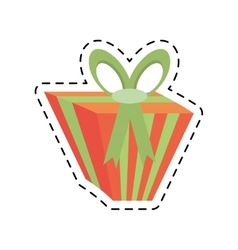 Gift box green ribbon bow stripes line dotted vector