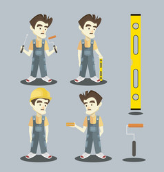 Set of young builder vector