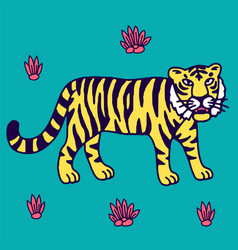 Cute tiger cartoon roaring vector