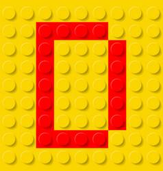 Red letter d in yellow plastic construction kit vector
