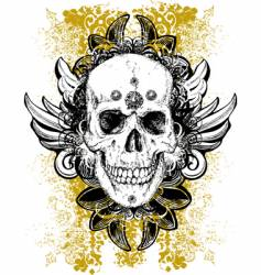 Stained skull grunge illustration vector