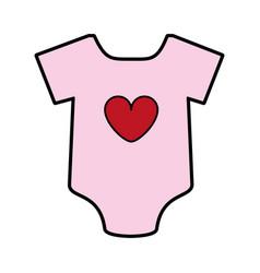 Feminine onesie with heart baby or shower related vector