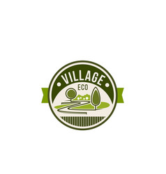Eco village and green trees nature icon vector
