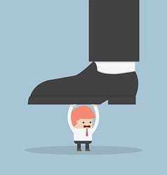 Businessman holding big businessman foot vector