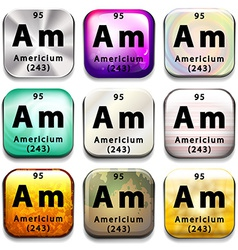 A periodic table showing americium vector