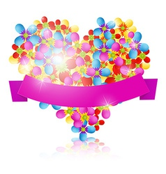 Colorful Flowers Heart with Pink Ribbon Isolated vector image