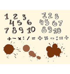435 duddle number 2Set of Hand drawn Numbers vector image vector image