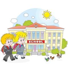 Schoolchildren going to school vector image