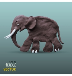Plasticine textured elephant vector