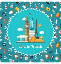 Travel flat design postcard with vector