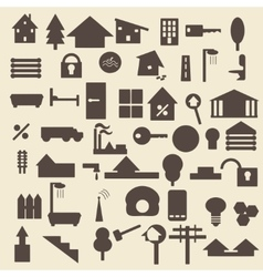 Real estate items silhouette icons set perfect vector