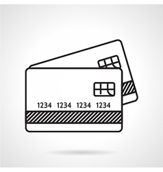 Credit cards black line icon vector