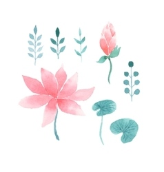 Watercolor floral set with lotus flowers vector