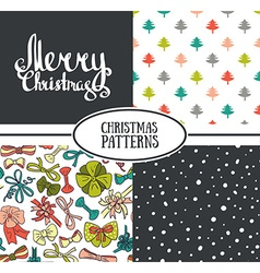 Set of seamless patterns with stylish christmas vector