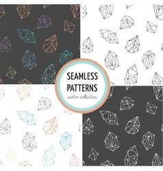 Crystals - seamless hand drawn patterns collection vector