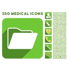 Open folder icon and medical longshadow icon set vector