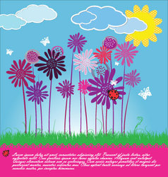 Funny Floral background vector image