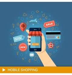 Hand with phone online shopping vector