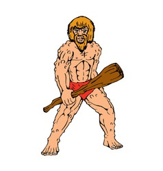Cartoon caveman holding club vector