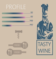 Tasty wine and food restaurant info graphic vector