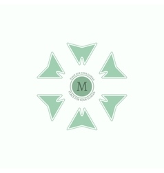 The letter m flourishes calligraphic monogram vector