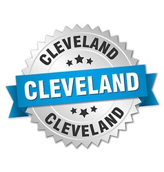 Cleveland round silver badge with blue ribbon vector