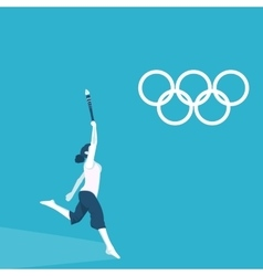 A girl torchbearer at the olympics vector