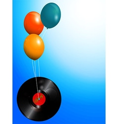 Balloons and spring vinyl record background vector image vector image