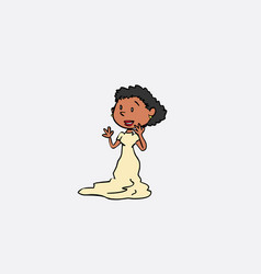 black bride surprised and happy isolated character vector image vector image