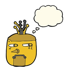 Cartoon gold robot head with thought bubble vector