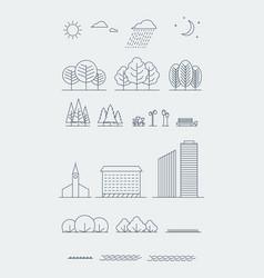 city landscape design elements linear vector image