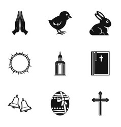 easter icon set simple style vector image vector image