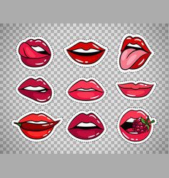 female lips patches on transparent background vector image