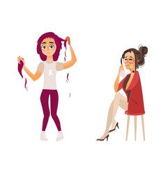 Flat women having mental illness set vector