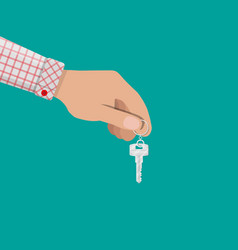 Hand and metal key with ring in flat style vector