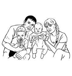 Happy family drawing vector