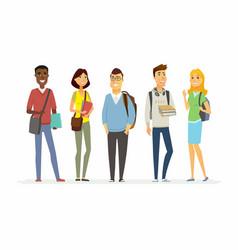 Happy senior school students - cartoon people vector