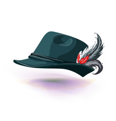 hat with white feather sticks out national german vector image