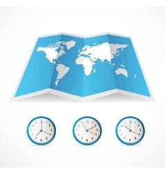 map icon and world time clocks vector image vector image