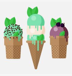 mint ice cream cone mint ice cream scoop in cone vector image