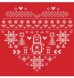 Nordic pattern in hearts shape with penguin on red vector image vector image