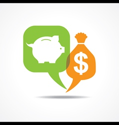 Piggy bank and dollar symbol in message bubble vector image vector image