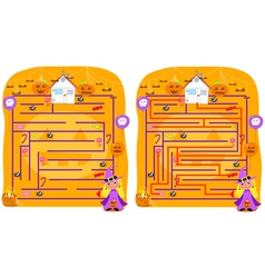 Solved Halloween maze game vector image vector image