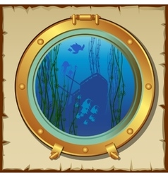 Submarines porthole with underwater view landscape vector