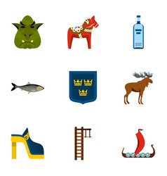 sweden icons set flat style vector image