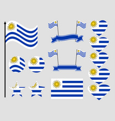 uruguay flag set symbols flag in heart vector image vector image